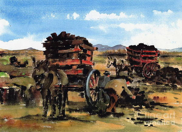 Painting - Gathering Turf by Val Byrne