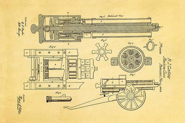 1862 Photograph - Gatling Machine Gun Patent Art 1862 by Ian Monk