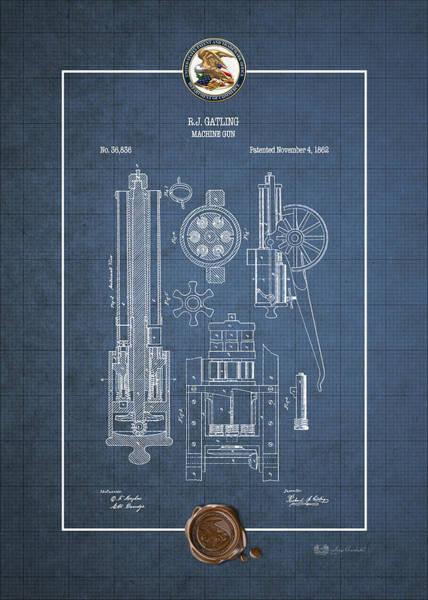 Digital Art - Gatling Machine Gun - Vintage Patent Blueprint by Serge Averbukh