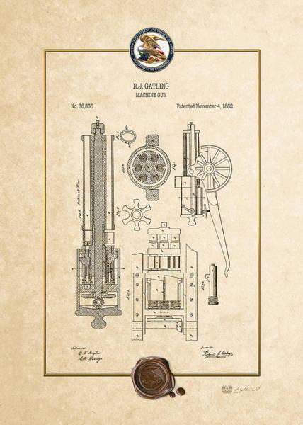 Digital Art - Gatling Machine Gun - Vintage Patent Document by Serge Averbukh