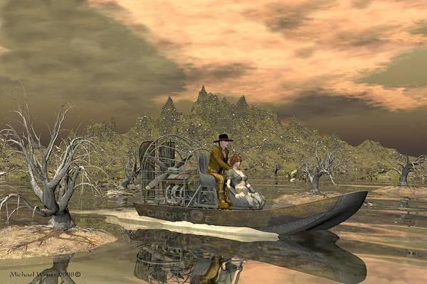 Speed Boat Digital Art - Gator Joe by Michael Wimer