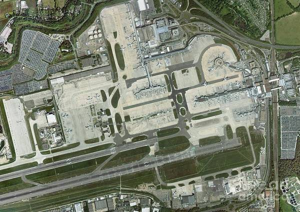 Road Map Photograph - Gatwick Airport, Aerial Photograph by Getmapping Plc
