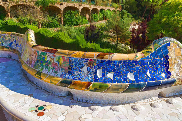 Park Bench Digital Art - Gaudi's Park Guell - Impressions Of Barcelona by Georgia Mizuleva