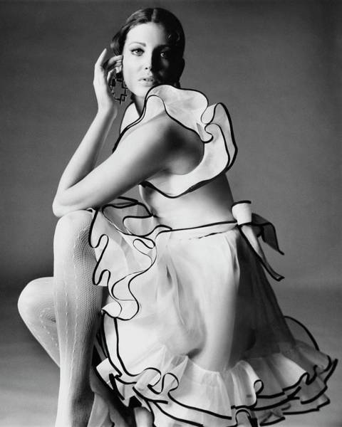 Photograph - Gayle Hunnicutt Wearing A Oscar De La Renta Dress by Bert Stern