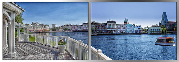 Wall Art - Photograph - Gazebo 02 Disney World Boardwalk Boat Passing By 2 Panel by Thomas Woolworth