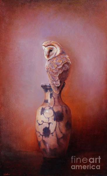 Barn Owl Painting - Gazing - Barn Owl by Lori  McNee