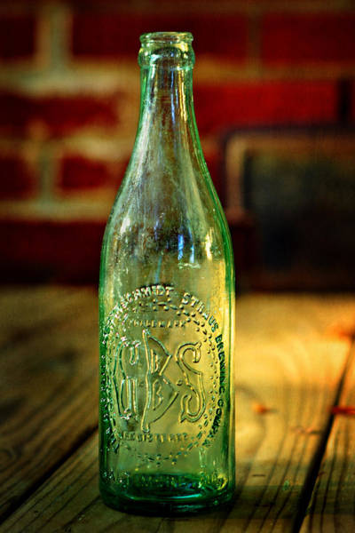 Photograph - Gbs Aqua Beer Bottle  by Rebecca Sherman