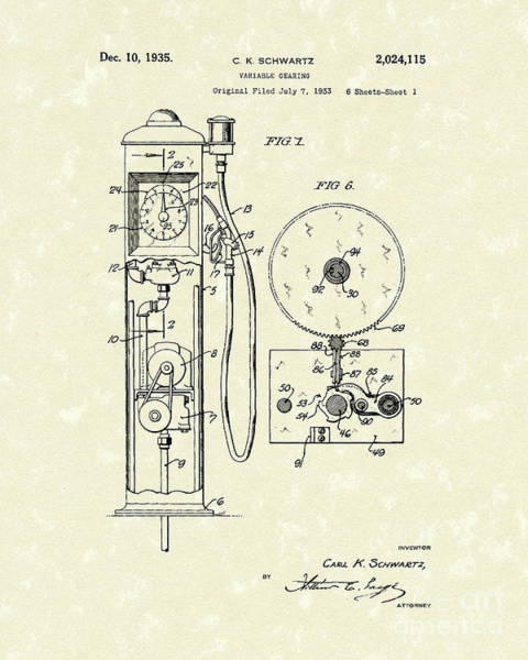 Drawing - Gears 1935 Patent Art by Prior Art Design