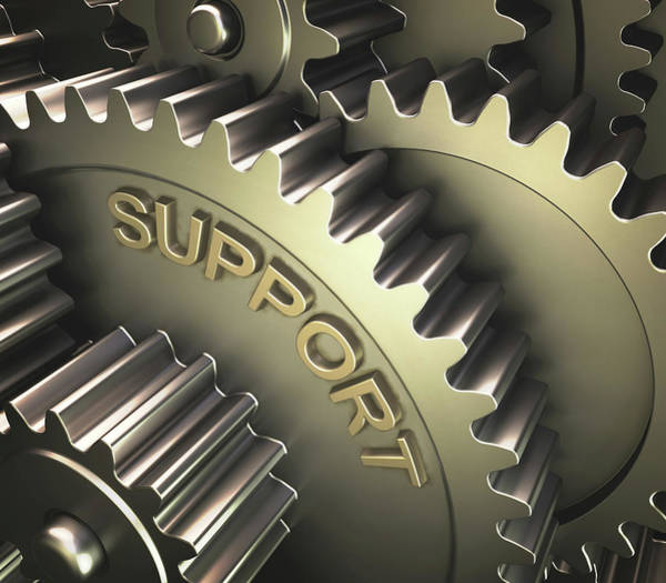 3 Photograph - Gears With The Word 'support' by Ktsdesign
