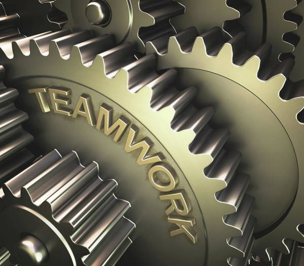 3 Photograph - Gears With The Word 'teamwork' by Ktsdesign