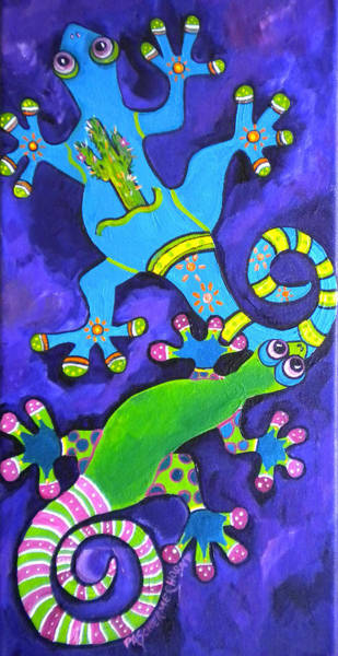 Painting - Gecko's Dipped In Paint by Patti Schermerhorn