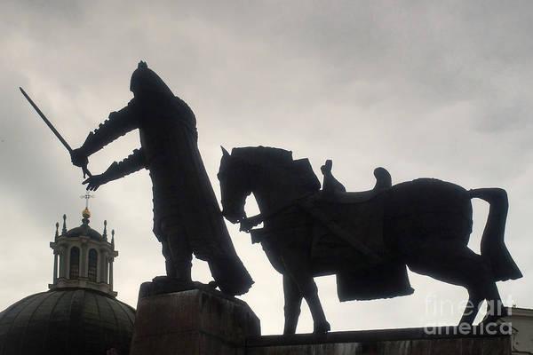 Wall Art - Photograph - Gediminas Statue In Vilnius At Sunset by Rudi Prott