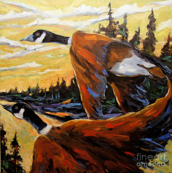 In Canada Painting - Geese In Flight by Richard T Pranke