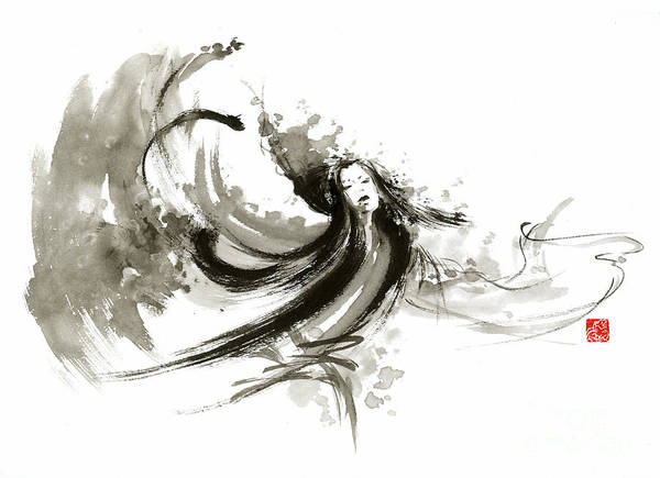 Sumi Wall Art - Painting - Geisha Dancer Dancing Girl Japanese Woman Original Painting by Mariusz Szmerdt