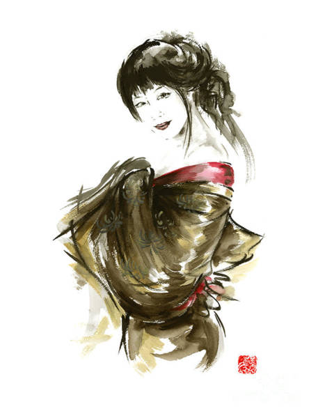 Sumi Wall Art - Painting - Geisha Gold Kimono Japanese Woman Sumi-e Original Painting Art Print by Mariusz Szmerdt