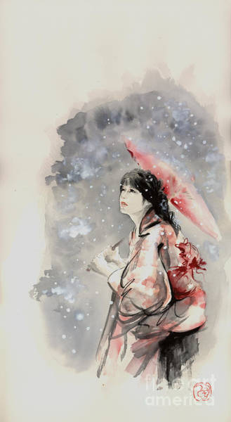 Kunst Wall Art - Painting - Geisha In Snow. Japanese Woman Portait. by Mariusz Szmerdt