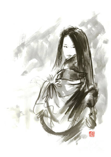 E Ink Wall Art - Painting - Geisha Japanese Woman Beauty Maiko Geiko Portrait Beautiful Face Kimono Original Japan Painting Art by Mariusz Szmerdt