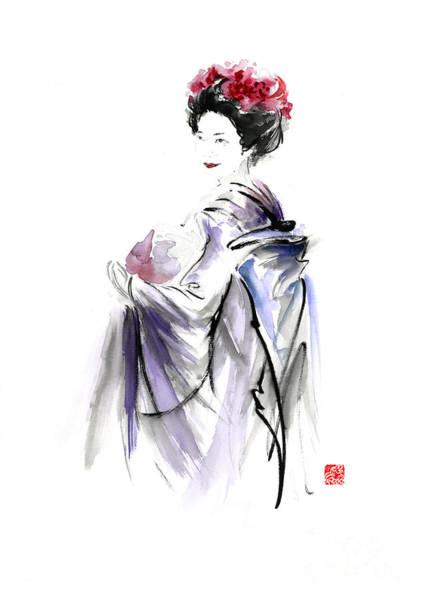 Fresh Paint Painting - Geisha Japanese Woman In Tokyo Fresh Flowers Kimono Original Japan Painting Art by Mariusz Szmerdt