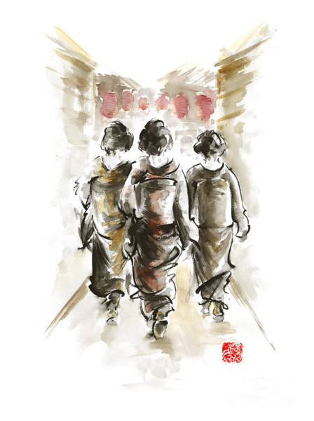 E Ink Wall Art - Painting - Geisha Japanese Woman Women In Kimono Walking On Street Run Rain Project Design Original Japan Paint by Mariusz Szmerdt