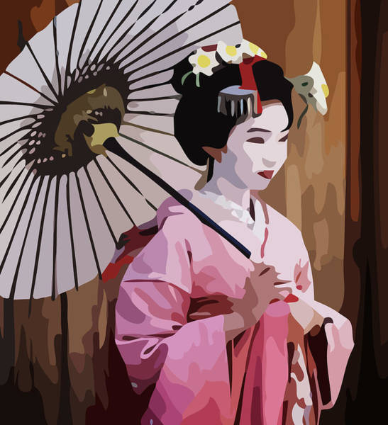 Geisha Mixed Media - Geisha by Ken Hirose