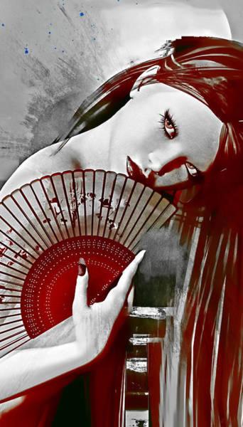 Wall Art - Digital Art - Geisha Red by Shanina Conway