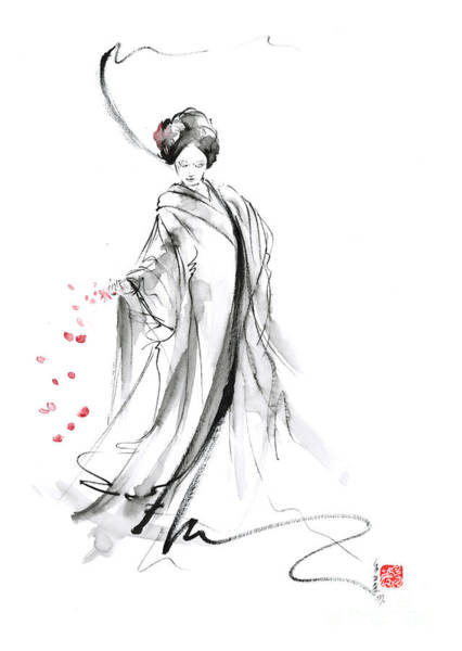 Wall Art - Painting - Geisha With Cherry Blossom Flower by Mariusz Szmerdt