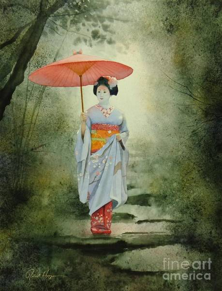 Wall Art - Painting - Geisha With Umbrella by Robert Hooper