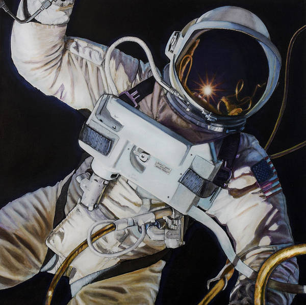Skeptic Wall Art - Painting - Gemini Iv- Ed White by Simon Kregar