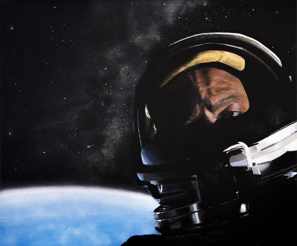 Skeptic Wall Art - Painting - Gemini Xii- Buzz Aldrin by Simon Kregar