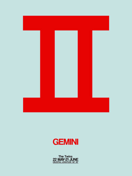Taurus Digital Art - Gemini Zodiac Sign Red by Naxart Studio