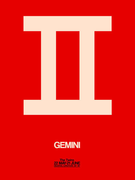 Taurus Digital Art - Gemini Zodiac Sign White On Red by Naxart Studio