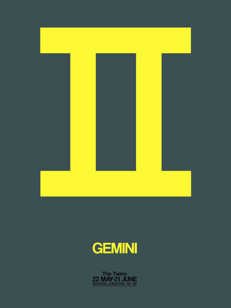 Taurus Digital Art - Gemini Zodiac Sign Yellow by Naxart Studio