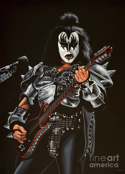 Guitarist Wall Art - Painting - Gene Simmons Of Kiss by Paul Meijering