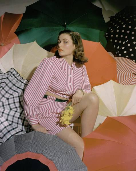 Photograph - Gene Tierney Amongst Umbrellas by Horst P. Horst