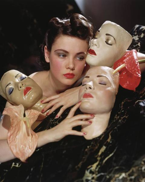 Wall Art - Photograph - Gene Tierney With Portrait Masks by Horst P. Horst