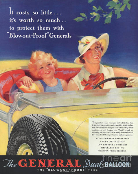 Nineteen-thirties Wall Art - Drawing - General 1930s Usa Tyres Women Woman by The Advertising Archives