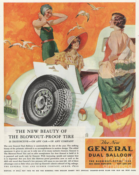 Nineteen-thirties Wall Art - Drawing - General 1933 1930s Usa Tyres Womens by The Advertising Archives