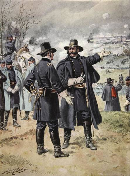 Soldier Drawing - General Burnside At The Battle by Henry Alexander Ogden