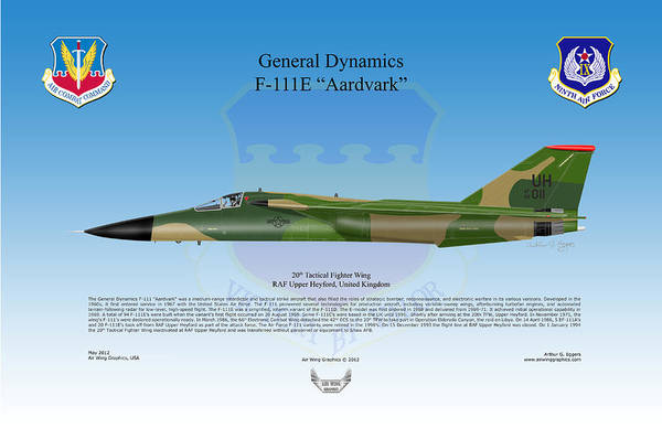General Dynamics Digital Art - General Dynamics F-111e Aardvark by Arthur Eggers