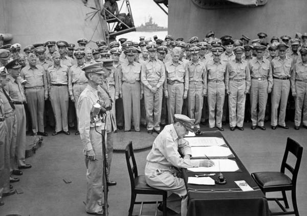 Wwii Photograph - General Macarthur Signing The Japanese Surrender by War Is Hell Store