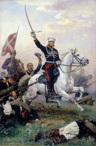 Charge Photograph - General M.d. Skobelev 1843-82 In The Russian-turkish War, 1883 Oil On Canvas by Nikolai Dmitrievich Dmitriev-Orenburgsky