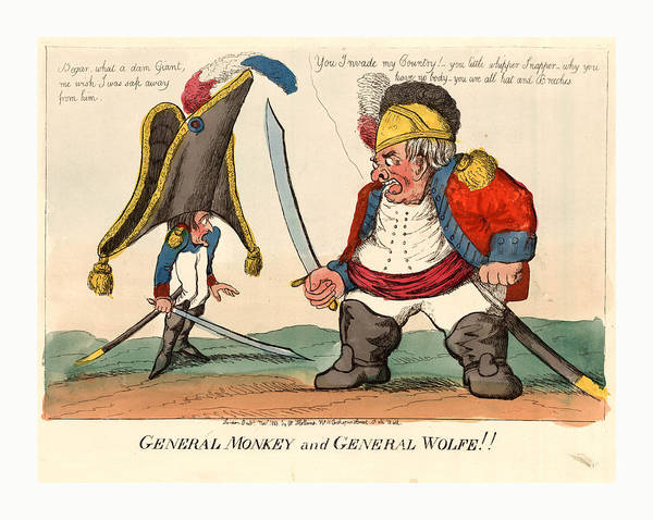 Wall Art - Drawing - General Monkey And General Wolfe, Holland, William, Active by English School