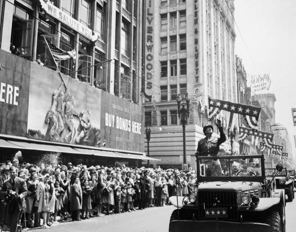 Commander Photograph - General Patton Ticker Tape Parade by War Is Hell Store