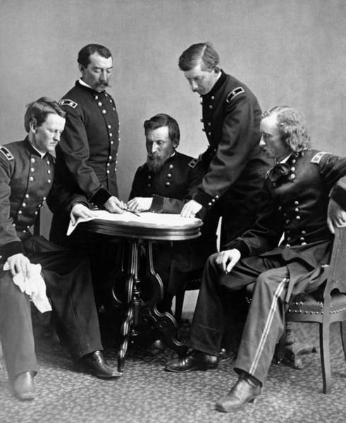 Between Photograph - General Philip Sheridan And His Staff  by War Is Hell Store