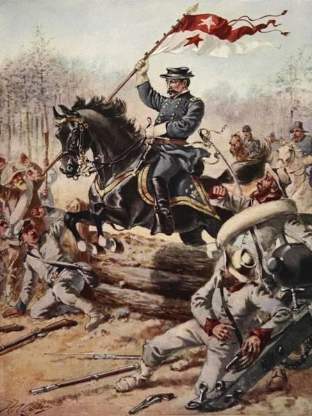 Horseback Drawing - General Sheridan At The Battle Of Five by Henry Alexander Ogden
