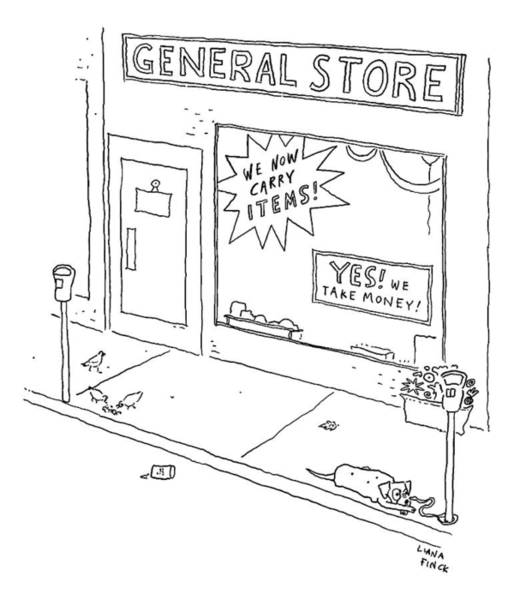 Money Drawing - General Store Features Signs 'yes by Liana Finck