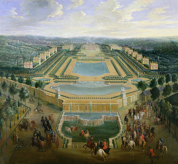 Cavalry Photograph - General View Of The Chateau And The Pavilions At Marly, 1722 Oil On Canvas by Pierre-Denis Martin