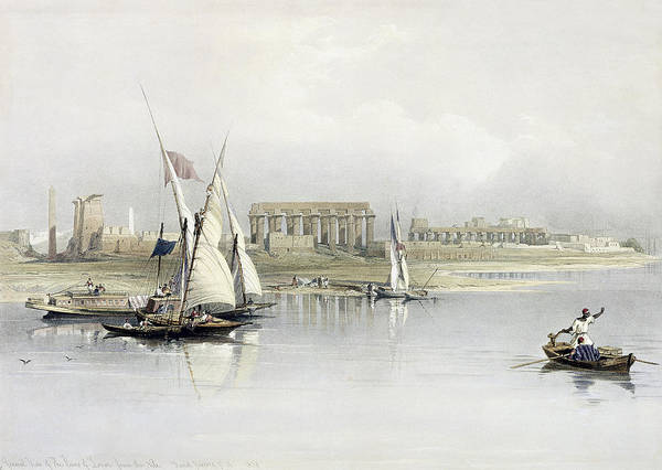 Nile Painting - General View Of The Ruins Of Luxor From The Nile by David Roberts