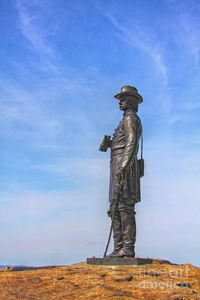 Cemetery Ridge Photograph - General Warren Statue At Gettysburg by Randy Steele
