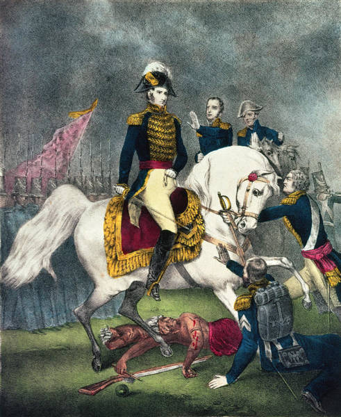 The Clash Wall Art - Photograph - General William H. Harrison 1773-1841 At The Battle Of Tippecanoe, 1840 Colour Litho by N. Currier